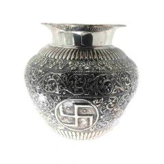 Glossy Oxidized Finish Leafy Shree Swastik Design Silver Artifact Lota