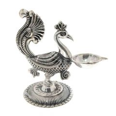 Glossy Oxidized Finish Peacock Design Silver Artifact Diya