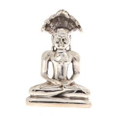 Glossy Finish Lord Mahaveer Silver Artifact Murti