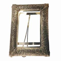 Antique Oxidized Finish Floral Design Photo Frame Silver Artifact