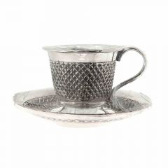 Antique Oxidized Finish Engraved Silver Artifact Cup Saucer