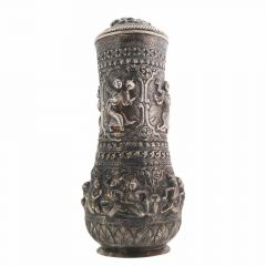 Antique Oxidized Finish Engraved Silver Artifact Surahi
