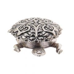 Antique Oxidized Finish Tortoise Silver Artifact