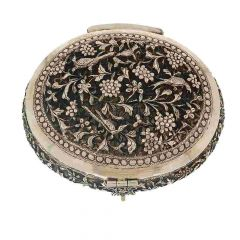 Antique Oxidized Finish Engraved Leafy Floral Design Silver Artifact Box