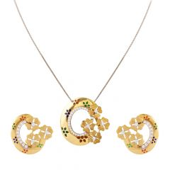 Glossy Matte Finish Multicolour Enamel Heart Floral Gold Pendant Set - FPS281