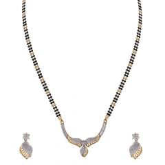 Sparkling Matte Finish Leafy Design CZ Studded Gold Mangalsutra Set-FPS328