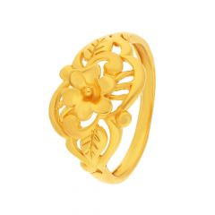 Leafy Floral Glossly Finish Gold Ring-FR10118