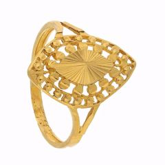 Marquise Design Embossed Gold Ring - FR1669