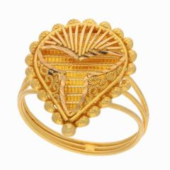 Filligree Glossy Glittering Stamped Gold Ring-FR3315