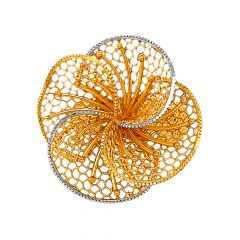 Glittering Floral Cutout Cocktail Gold Ring