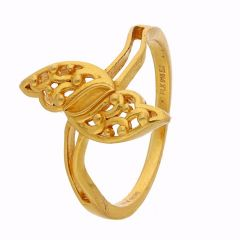 Feather Design Gold Ring - FR4349