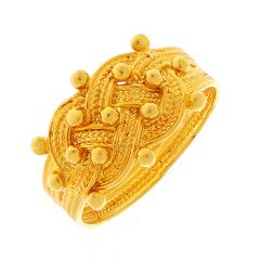 Traditional Embossed Crisscross Gold Ring