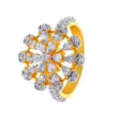 Blooming Fancy Shape Floral CZ Gold Ring