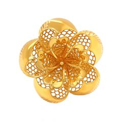 Blossom Floral Cutout Cocktail Gold Ring