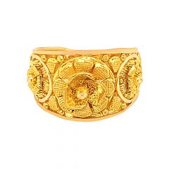 Traditional Textured Floral Gold Ring