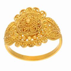 Matte Finish Filigree Gold Ring-FR9397