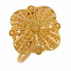 Embossed Gold Balls Floral Design Ring-FR9407
