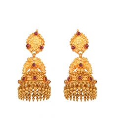Traditional Jhumka Design 22kt Yellow Gold Earrings - FTP8492