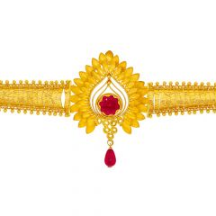 Traditional Gemstone Drop Gold Armlet