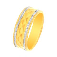 Delicate Two Tone Concave Gold Band
