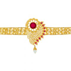 Traditional Floral Gemstone Gold Armlet