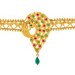 Traditional Gemstone Peacock Embossed Gold Armlet