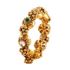 Antique Finish Embossed Beads Kundan With Red Green Stone Gold Bracelet-GA-211282