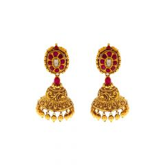 Antique Kundan Gemstone Gold Jhumka