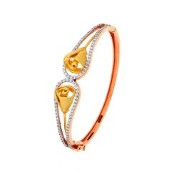 Elite Floral CZ Diamond Gold Oval Bracelet