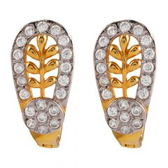Glossy Finish Glittering CZ Leafy Gold Bali Earring - GB507