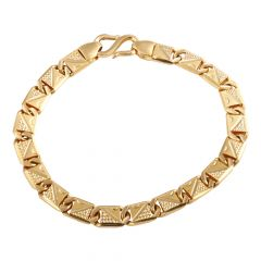 Glossy Diamond Cut Flat Figaro Design Gold Bracelets  - GBL266