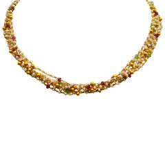 22kt Multicolour Stone With Pearl Beads Tangled Gold Necklace- GCND-4411