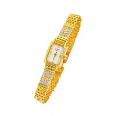 Ravishing Titan Raga CZ Gold Link Wirst Watch For Her