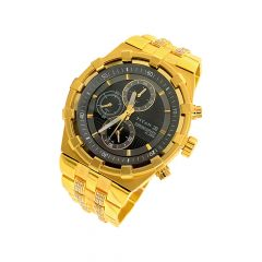Dazzling Titan Chronograph CZ Gold Link Wrist Watch For Him