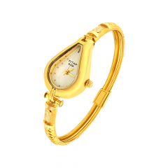 Elegant Textured Titan Raga Gold Link Wrist Watch