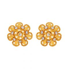 Glossy Finish Rhodium Polish Heart Floral Design Gold Earrings