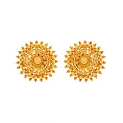 Glossy Finish Embossed Bead Ball Floral Design Gold Stud Earrings