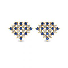 Glossy Finish Cluster CZ Studded With Synthetic Colour Stone Stud Gold Earrings