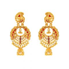 Glossy Finish Diamond Cut Enamel Filigree Drop Bead Ball Chandelier Design Studded With Synthetic Colour Stone Gold Earrings