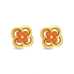 Glossy Finish Floral Ball Design Studded With Sythetic Colour Stone Stud Gold Earrings