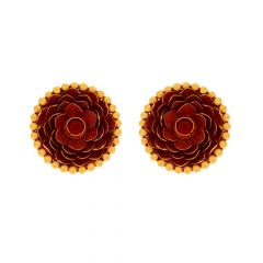 Glossy Antqiue Finish Floral Design Studded With Synthetic Colour Stone Gold Earrings