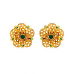 Glossy Finish Floral Deisgn Studded With Synthetic Colour Stone Gold Earrings