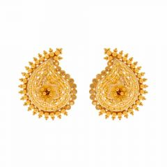 Glossy Sand Blast Finish Filigree Floral Drop Design Gold Earrings