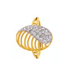 Glossy Finish Oval Design CZ Studded Gold Ring