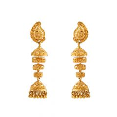 Matte Finish Diamond Cut Embossed Layer Ring Gold Jhumki Earring - GJH129
