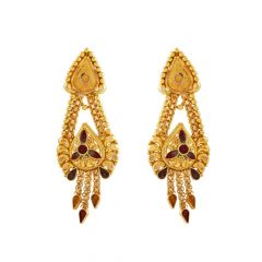 Glossy Finish Multicolour Drop Layer Gold Earring - GJH86