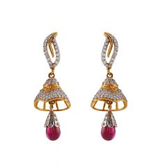 Glossy Glittering Drop Red With CZ Stone Gold Jhumki Earring - GJH96