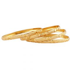 Embossed Traditional Designs Gold Bangles - GKC291