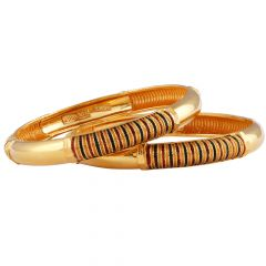 Traditional Gold Bangles With Meena - GKC682