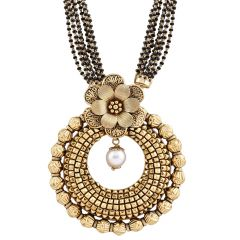 Antique Finish Multiline Diamond Cut Floral Circle Gold Mangalsutra - GMS177